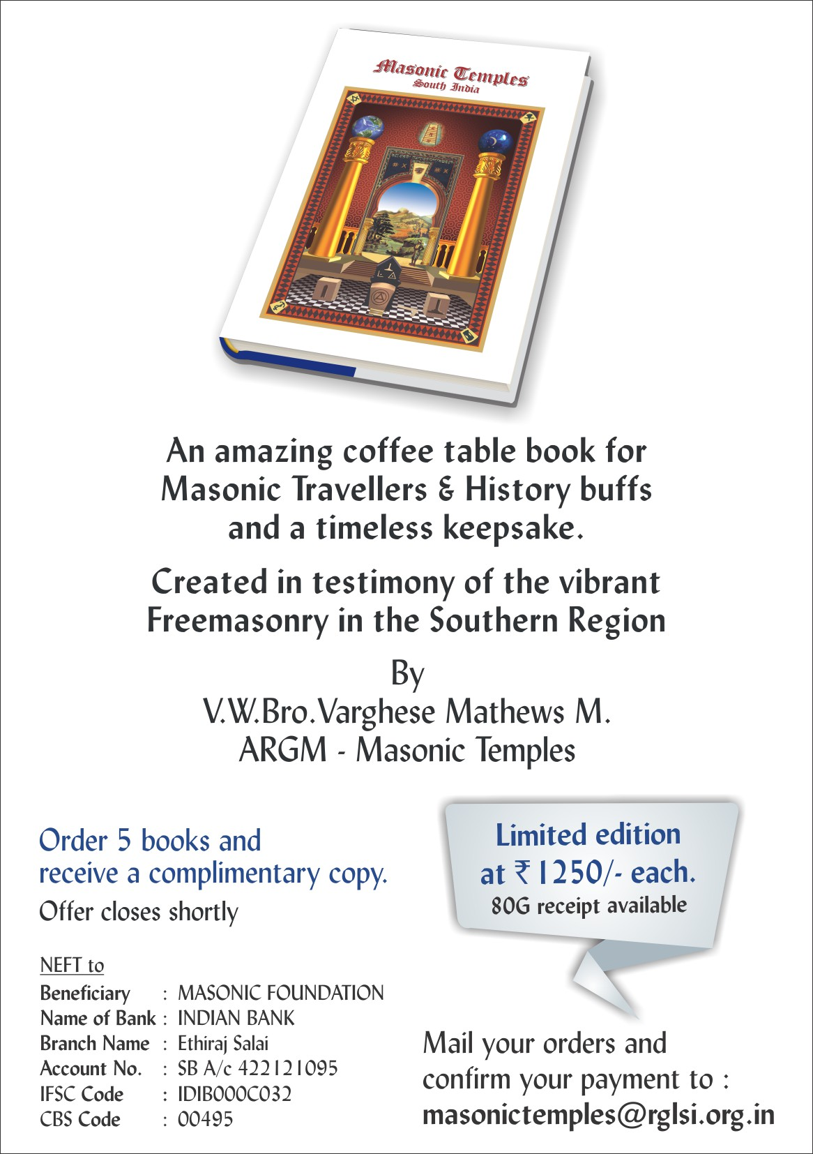 Grand Lodge of India – Coffee Table Book on Masonic Temples South
